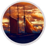 Tallship - Moody Blues And Powerful Oranges Round Beach Towel
