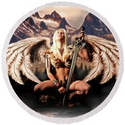 Talon Of The Hawk Woman Round Beach Towel