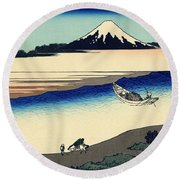 Tama River In The Musashi Province Round Beach Towel