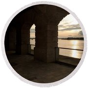 Tamar Estuary Sunset Round Beach Towel