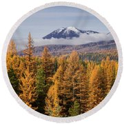 Tamarack Glory Round Beach Towel