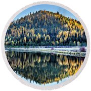 Tamarack Glow Idaho Landscape Art By Kaylyn Franks Round Beach Towel