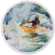 Round Beach Towel featuring the painting Taming Of The Chute by Hanne Lore Koehler