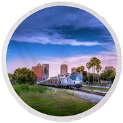 Round Beach Towel featuring the photograph Tampa Departure by Marvin Spates