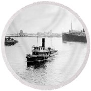 Tampa Florida - Harbor - C 1926 Round Beach Towel by International  Images