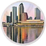 Tampa In Vivid Color Round Beach Towel by Frozen in Time Fine Art Photography