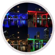 Round Beach Towel featuring the photograph Tampa's Colorful Bridges by David Lee Thompson