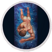 Tan Lines In Space Round Beach Towel