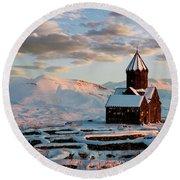 Tanahat Monastery At Sunset In Winter, Armenia Round Beach Towel by Gurgen Bakhshetsyan