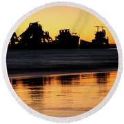 Tangalooma Wrecks Sunset Silhouette Round Beach Towel
