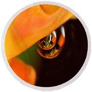 Tangerine Drops Round Beach Towel