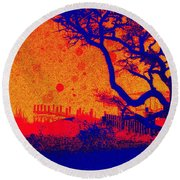Tangerine Twilight Round Beach Towel