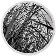 Round Beach Towel featuring the photograph Tangled Grass by Susan Capuano