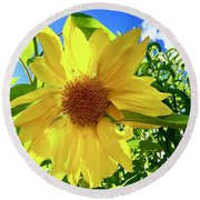 Tangled Sunflower Round Beach Towel