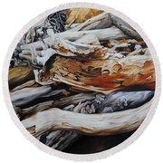 Tangled Timbers Round Beach Towel