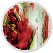 Round Beach Towel featuring the painting Tango Dance 45g by Gull G