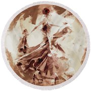 Round Beach Towel featuring the painting Tango Dance 9910j by Gull G