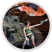 Tank Girl In Action Round Beach Towel
