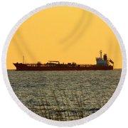 Tanker At Sunrise Round Beach Towel