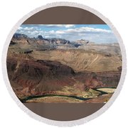 Tanner Rapids And The Colorado River Grand Canyon National Park Round Beach Towel