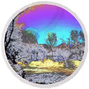 Tanque Verde Wash Abstract Round Beach Towel