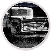 Taos Dodge B-w Round Beach Towel