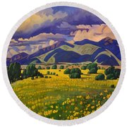 Taos Fields Of Yellow Round Beach Towel