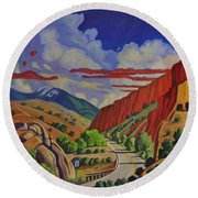 Taos Gorge Journey Round Beach Towel