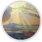 Taos Gorge Light Round Beach Towel