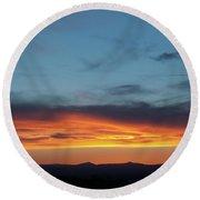 Taos Mesa Sunset Round Beach Towel