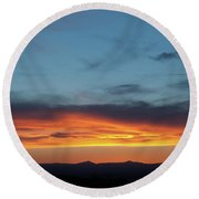 Taos Mesa Sunset Round Beach Towel