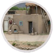Taos Pueblo Adobe House With Pots Round Beach Towel