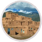 Taos Pueblo And Pueblo Peak Round Beach Towel