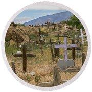 Taos Pueblo Cemetery Round Beach Towel
