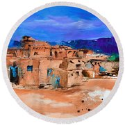Round Beach Towel featuring the painting Taos Pueblo Village by Elise Palmigiani