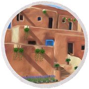 Taos Pueblo With Flowers Round Beach Towel