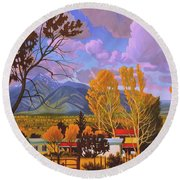 Taos Red Roofs Round Beach Towel