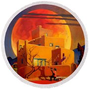 Taos Wolf Moon Round Beach Towel