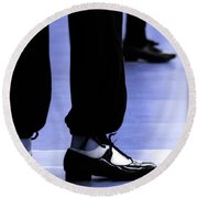 Tap Dance In Blue Are Shoes Tapping In A Dance Academy Round Beach Towel