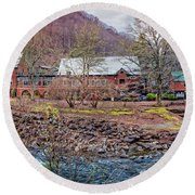 Round Beach Towel featuring the photograph Tapoco Lodge by Debra and Dave Vanderlaan
