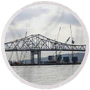 Tappan Zee Bridge From Tarrytown Round Beach Towel