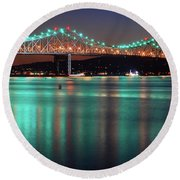 Round Beach Towel featuring the photograph Tappan Zee Refelctions by James Kirkikis