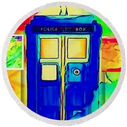 Round Beach Towel featuring the digital art Tardis Three by Justin Moore