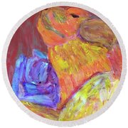 Round Beach Towel featuring the painting Tarella Napping With Merline by Donald J Ryker III