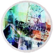 Target Field Us Bank Staduim  Round Beach Towel by Susan Stone