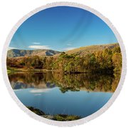 Tarn Hows Round Beach Towel by Mike Taylor