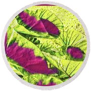 Taro Leaves In Green And Red Round Beach Towel