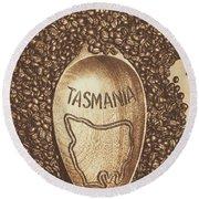 Tasmania Coffee Beans Round Beach Towel
