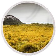 Tasmania Mountains Of The East-west Great Divide  Round Beach Towel