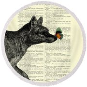 Tasmanian Tiger And Orange Butterfly Antique Illustration On Dictionary Page Round Beach Towel